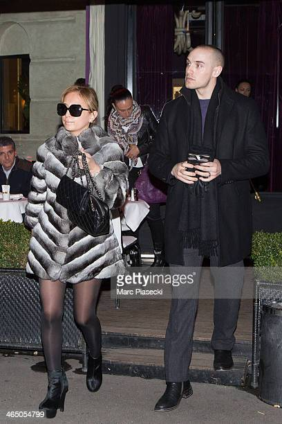 Singer Ayumi Hamaski and boyfriend are seen leaving the 'L'Avenue 'restaurant on January 25 2014 in Paris France