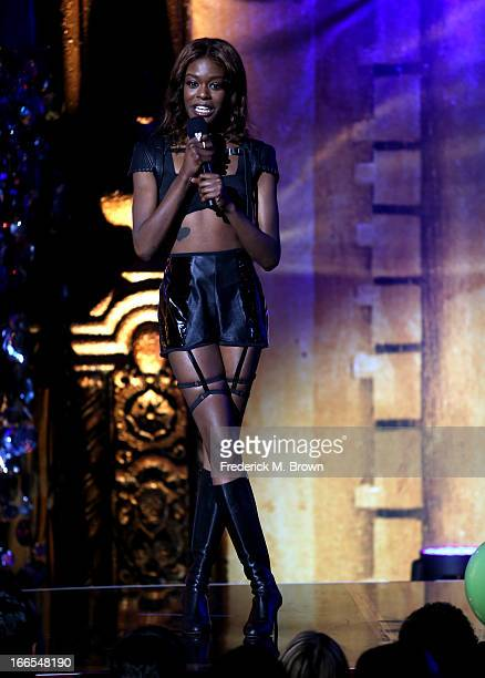 Singer Azealia Banks speaks onstage during the 2013 NewNowNext Awards at The Fonda Theatre on April 13 2013 in Los Angeles California