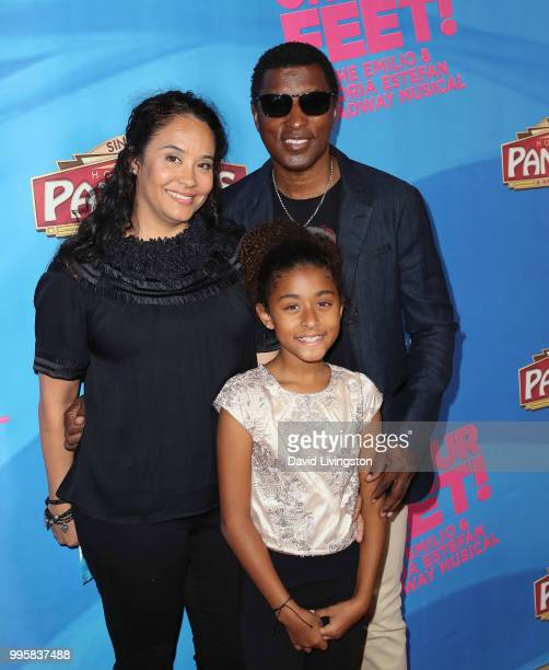 Singer Babyface wife Nicole Pantenburg and daughter Peyton Nicole Edmonds attend a celebration of the Los Angeles engagement of On Your Feet the...