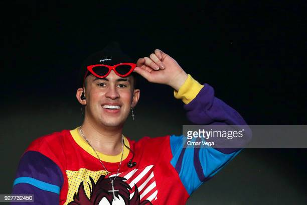 Singer Bad Bunny performs during a concert as part of La Nueva Religion Tour at The Coliseum on March 4 2018 in Austin Texas