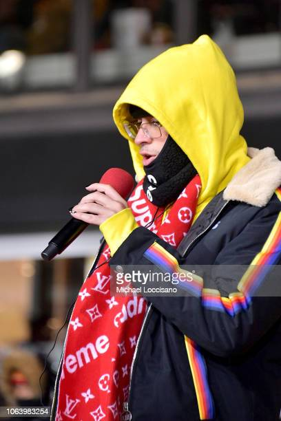 Singer Bad Bunny performs during the 92nd Annual Macy's Thanksgiving Day Parade day two of rehearsals on November 20 2018 in New York City