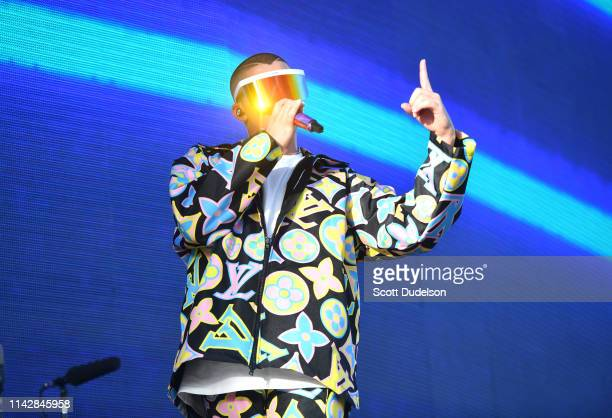 Singer Bad Bunny performs onstage during Weekend 1 Day 3 of the Coachella Valley Music and Arts Festival on April 14 2019 in Indio California
