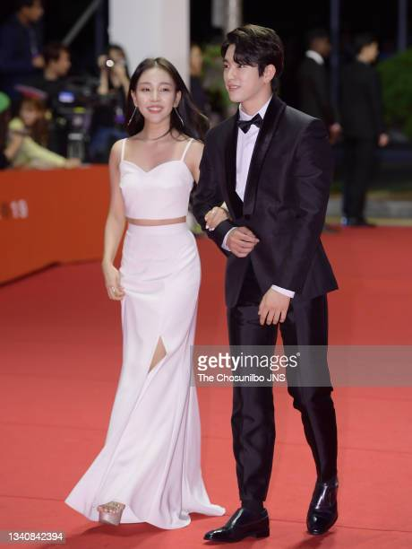 Singer Baek A-Yeon and Jinyoung of GOT7 attend photo call of 2019 Busan International Film Festival Opening Ceremony at Busan Cinema Center on...
