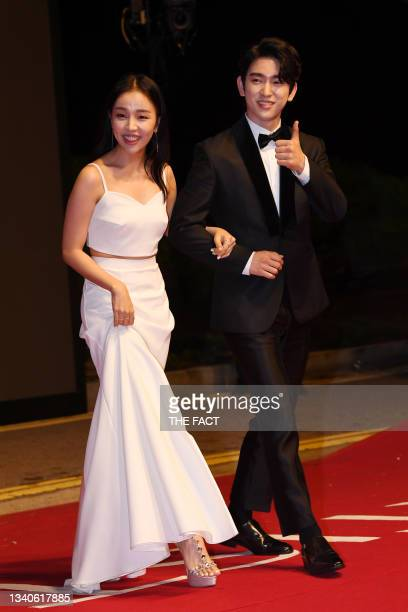 Singer Baek A-Yeon and Jinyoung of GOT7 attends photo call of 2019 Busan International Film Festival Opening Ceremony at Busan Cinema Center on...