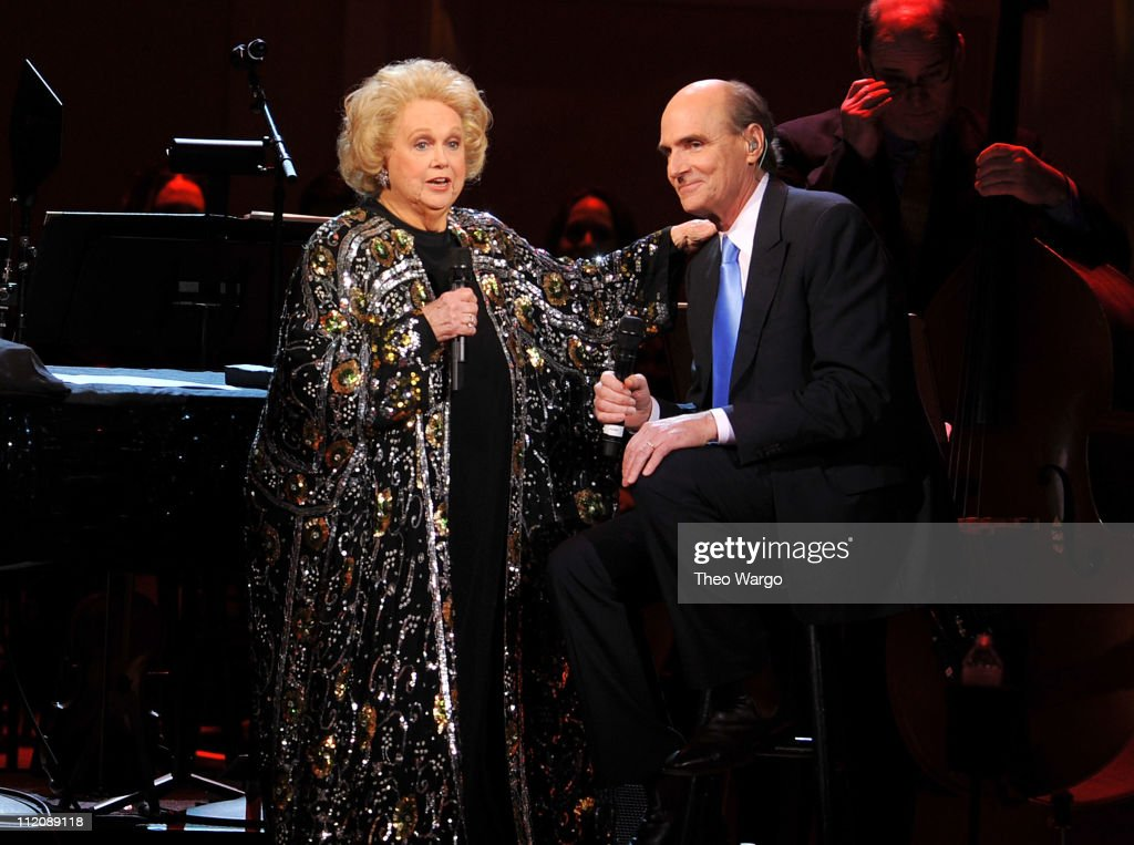 Singer Barbara Cook and musician James Taylor perform onstage at the 120th Anniversary of Carnegie Hall on April 12, 2011 in New York City.