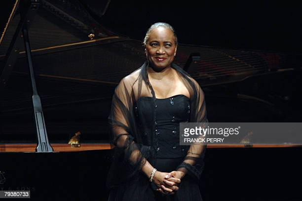 US singer Barbara Hendricks is applauded after performin with pianist Love Derwinger as part of the 14th Folle journee a classical music festival 30...