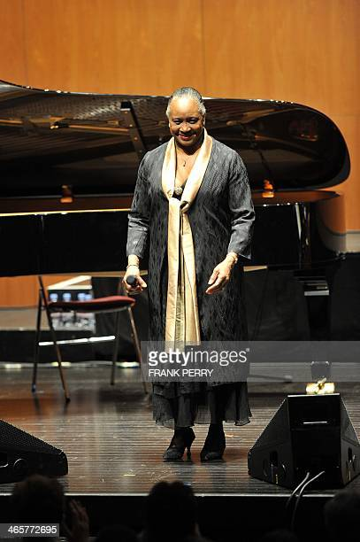 US singer Barbara Hendricks is applauded after performing at the 20th edition of the music festival La Folle journee in Nantes western France on...