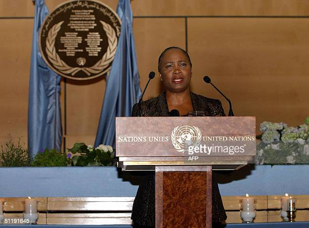 Singer Barbara Hendricks sings at the UN in Geneva in a ceremony commemorating the first anniversary of te bombing of the UN headquarters in Baghdad...