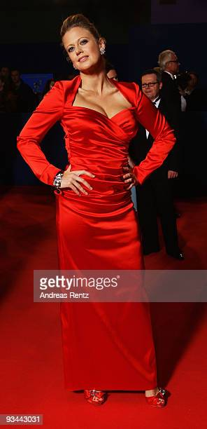 Singer Barbara Schoeneberger arrives to the Bambi Awards 2009 at the Metropolis Hall at the Filmpark Babelsberg on November 26 2009 in Potsdam Germany