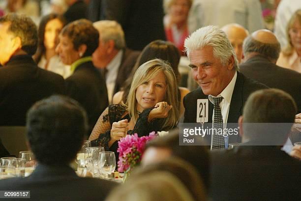 Singer Barbra Streisand and her husband actor James Brolin attend the John Kerry Victory 2004 concert at the Walt Disney Concert Hall June 24 2004 in...