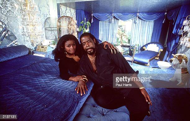 Singer Barry White and his wife Goldean pose at their home in this 1987 photo in Sherman Oaks California White who was suffering from kidney failure...