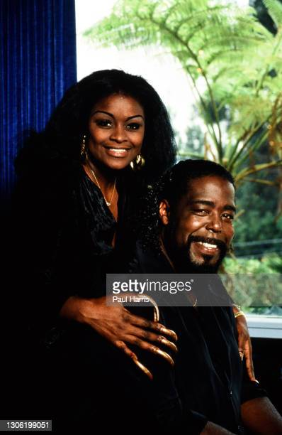 Singer Barry White and his wife Glodean pose at their home, White, later suffered from kidney failure and high blood pressure, died at the age of 58...