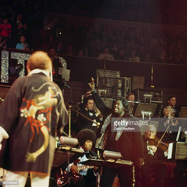 Singer Barry White performs on stage at the Royal Albert Hall in London England in May 1975