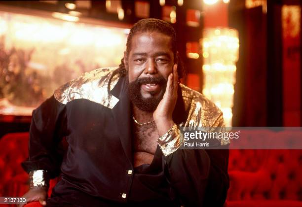 Singer Barry White poses at his home in this 1987 photo in Sherman Oaks California White who was suffering from kidney failure and high blood...