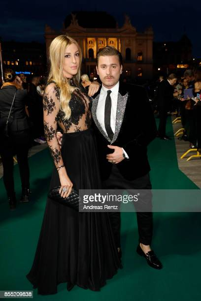 Singer Baschi and girlfriend Alana Netzer attend the opening ceremony and 'Borg vs McEnroe' premiere at the 13th Zurich Film Festival on September 28...