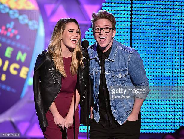 Singer Bea Miller and internet personality Tyler Oakley speak onstage during the Teen Choice Awards 2015 at the USC Galen Center on August 16 2015 in...