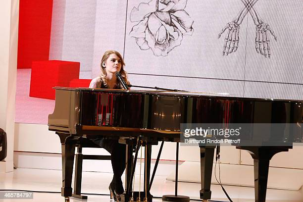 Singer Beatrice Martin aka Coeur de Pirate performs at 'Vivement Dimanche' French TV show at Pavillon Gabriel on January 29 2014 in Paris France