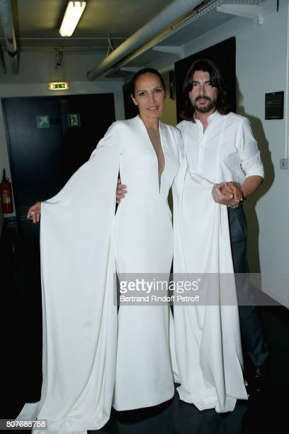Singer Beatrice Uria-Monzon and Stylist Stephane Rolland attend the Stephane Rolland Haute Couture Fall/Winter 2017-2018 show as part of Haute...