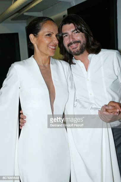 Singer Beatrice UriaMonzon and Stylist Stephane Rolland attend the Stephane Rolland Haute Couture Fall/Winter 20172018 show as part of Haute Couture...