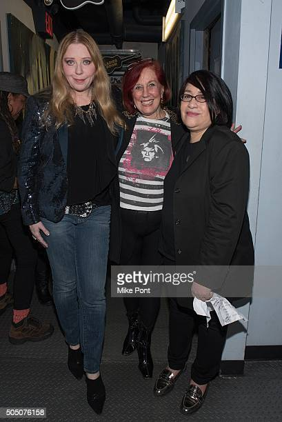 Singer Bebe Buell, and producers Yvonne Sewall Ruskin and Sylvia Reed attend the Velvet Underground Lou Reed Benefit Tribute 50th Anniversary...