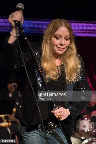 Singer Bebe Buell performs during the Velvet Underground Lou Reed Benefit Tribute 50th Anniversary Celebration of the Arts at The Cutting Room on...