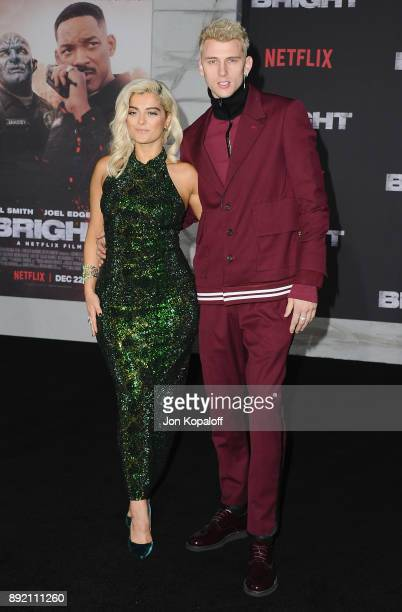 Singer Bebe Rexha and Machine Gun Kelly attend the premiere of Netflix's 'Bright' at Regency Village Theatre on December 13 2017 in Westwood...