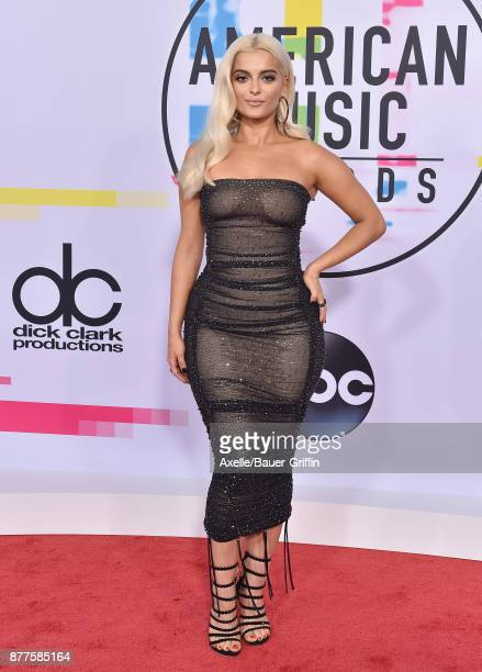 Singer Bebe Rexha arrives at the 2017 American Music Awards at Microsoft Theater on November 19 2017 in Los Angeles California