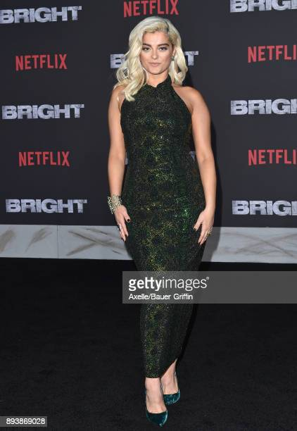 Singer Bebe Rexha arrives at the premiere of Netflix's 'Bright' at Regency Village Theatre on December 13 2017 in Westwood California