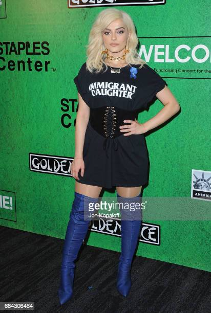 Singer Bebe Rexha arrives at Zedd Presents WELCOME Fundraising Concert Benefiting The ACLU at Staples Center on April 3 2017 in Los Angeles California