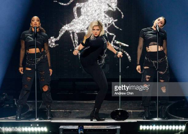Singer Bebe Rexha opens for Jonas Brothers at Rogers Arena on October 11, 2019 in Vancouver, Canada.
