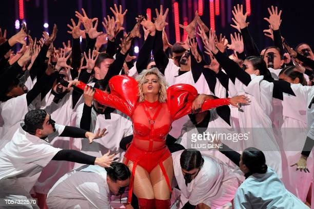 US singer Bebe Rexha performs during the MTV Europe Music Awards at the Bizkaia Arena in the northern Spanish city of Bilbao on November 4 2018