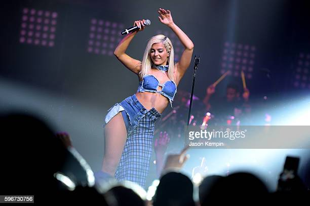 Singer Bebe Rexha performs onstage at the MTV Pre VMA concert hosted by Taco Bell at Terminal 5 on August 27 2016 in New York City