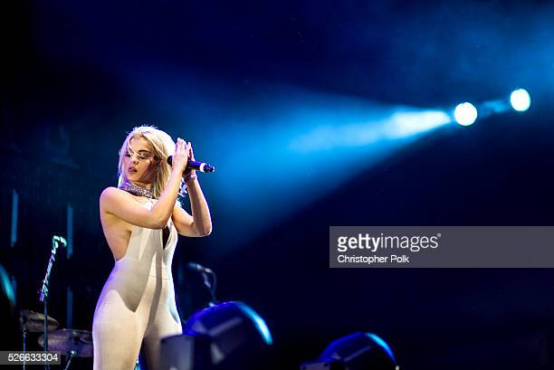 Singer Bebe Rexha performs onstage during 2016 Stagecoach California's Country Music Festival at Empire Polo Club on April 29 2016 in Indio California