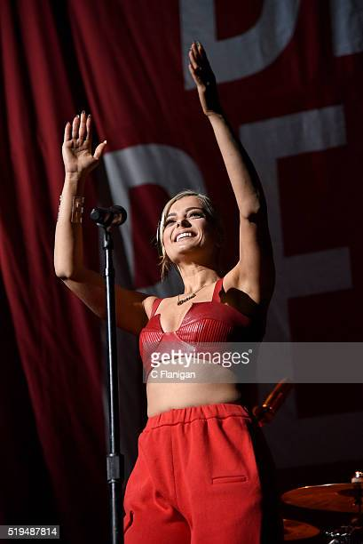Singer Bebe Rexha performs onstage during the 2016 'Delirium' tour at SAP Center on April 6, 2016 in San Jose, California.