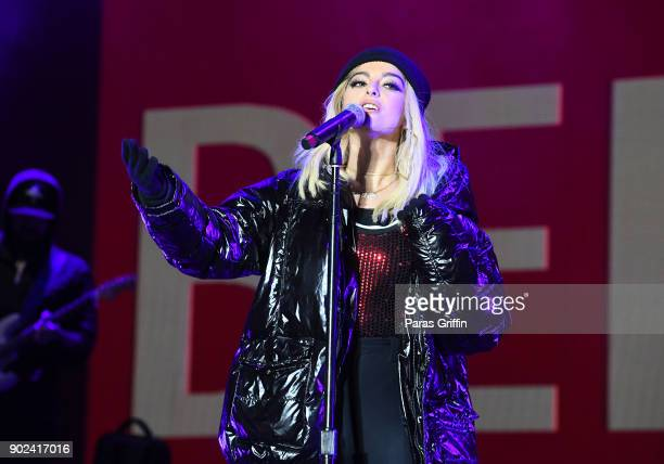 Singer Bebe Rexha performs onstage in concert during ATT Playoff Playlist Live at Centennial Olympic Park on January 7 2018 in Atlanta Georgia