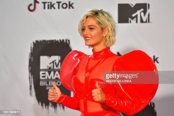 US singer Bebe Rexha poses backstage during the MTV Europe Music Awards at the Bizkaia Arena in the northern Spanish city of Bilbao on November 4 2018