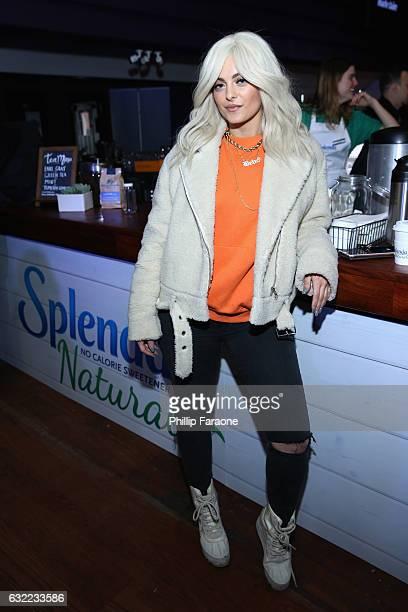 Singer Bebe Rexha warms up at the SPLENDA® Naturals café on January 20th in Park CityUtah