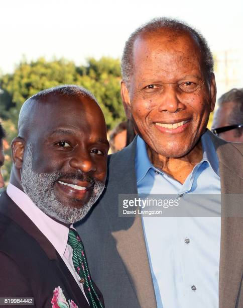Singer BeBe Winans and actor Sidney Poitier attend the opening night of Born For This at The Broad Stage on July 20 2017 in Santa Monica California