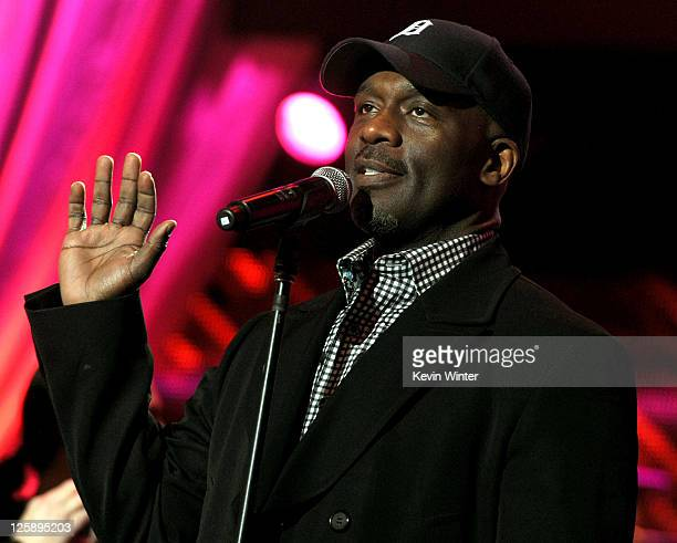 Singer BeBe Winans performs onstage during 2011 MusiCares Person Of The Year Tribute To Barbra Streisand rehearsals at Los Angeles Convention Center...