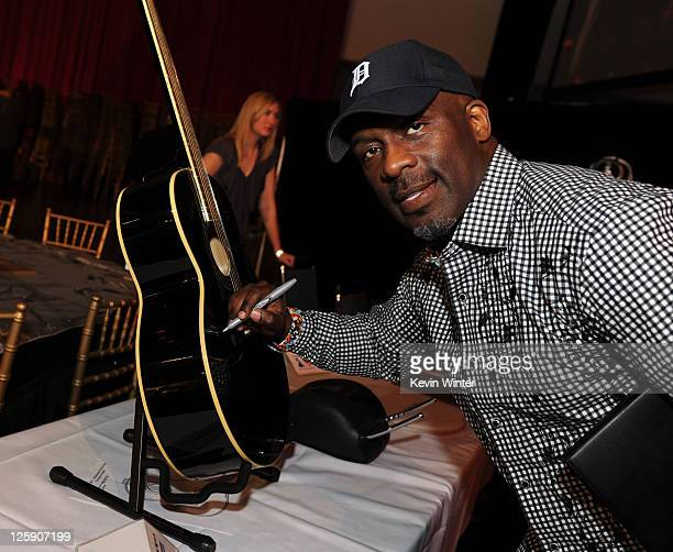 Singer BeBe Winans poses during 2011 MusiCares Person Of The Year Tribute To Barbra Streisand rehearsals at Los Angeles Convention Center on February...