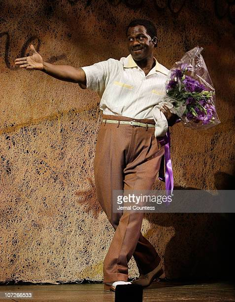 Singer BeBe Winans takes a bow following his debut in the Broadway production of The Color Purple at the Broadway Theatre on January 9 2007 in New...