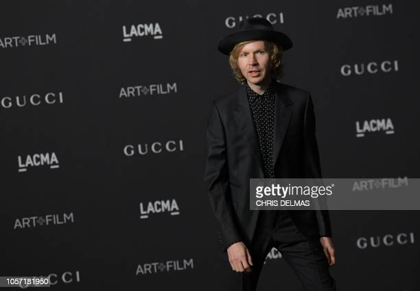 Singer Beck arrives for the 2018 LACMA ArtFilm Gala at the Los Angeles County Museum of Art in Los Angeles California on November 3 2018