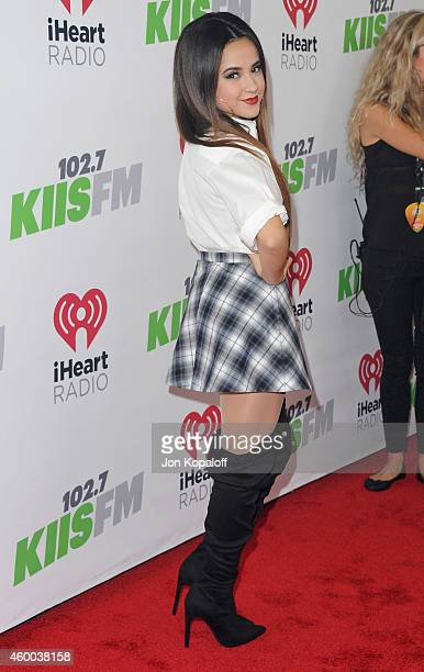 Singer Becky G arrives at KIIS FM's Jingle Ball 2014 at Staples Center on December 5 2014 in Los Angeles California