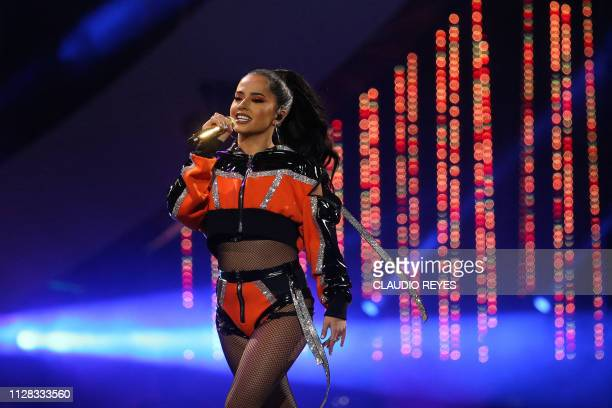 US singer Becky G performs during the 60th Vina del Mar International Song Festival on March 1 2019 in Vina del Mar Chile