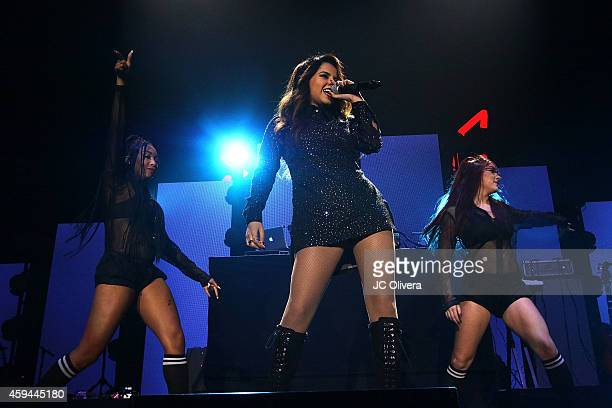 Singer Becky G performs on stage during iHeartRadio Fiesta Latina Music Festival at The Forum on November 22 2014 in Inglewood California