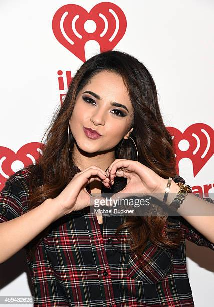 Singer Becky G poses backstage during the iHeartRadio Fiesta Latina festival presented by Sprint at The Forum on November 22 2014 in Inglewood...
