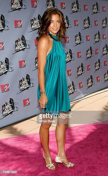 EMBARGO** Singer Becky O'Donohue arrives to the 2007 MTV Movie Awards held at the Gibson Amphitheatre on June 3 2007 in Universal City California