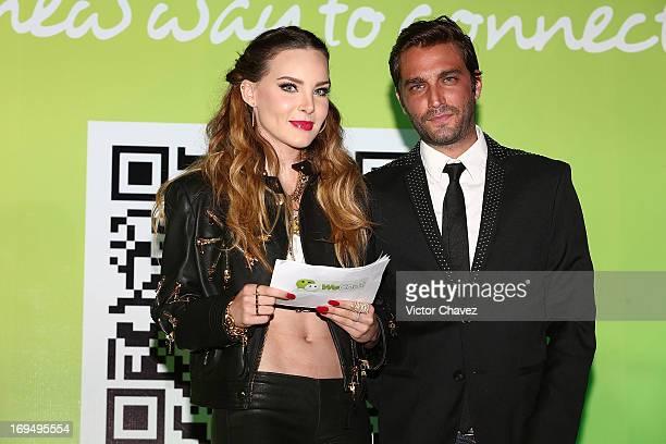 Singer Belinda and Ricardo Korkowski attend the WeChat launch Mexico at Joy Room Antara Polanco on May 14 2013 in Mexico City Mexico
