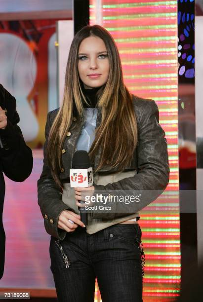 Singer Belinda appears onstage during MTV's mi TRL at the MTV Times Square Studios February 2 2007 in New York City
