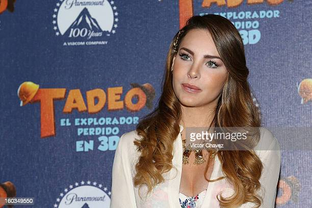 Singer Belinda attends a photocall and press conference to promote the film Tad The Lost Explorer at Four Seasons Hotel on January 29 2013 in Mexico...